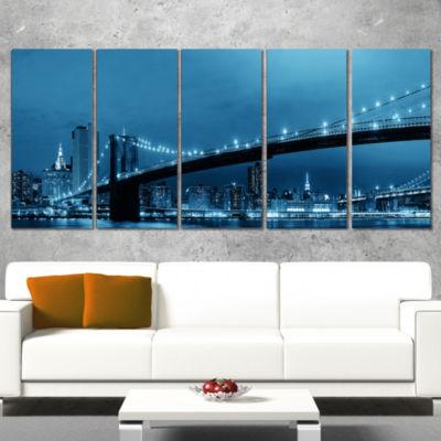 Designart Manhattan Downtown Urban View CityscapeCanvas Print - 5 Panels