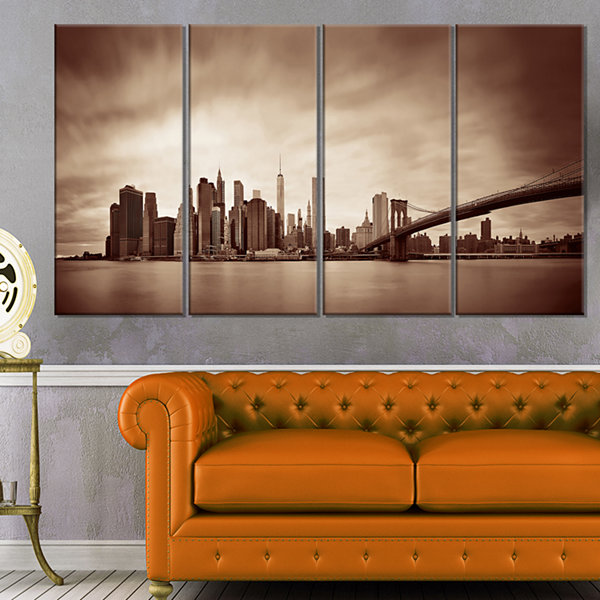 Designart Manhattan Financial District Cityscape Canvas Print - 4 Panels