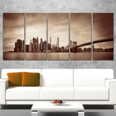 Designart Manhattan Financial District Cityscape Wrapped Canvas Print - 5 Panels