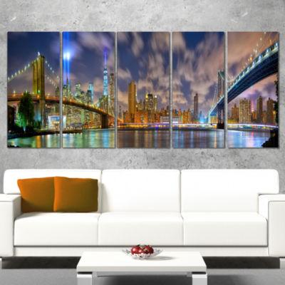 Manhattan in Memory of September 11 Cityscape Canvas Print - 4 Panels