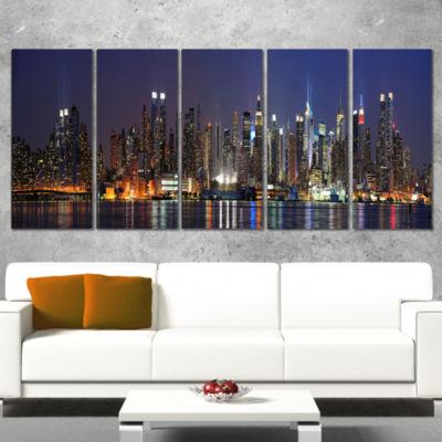 Designart Manhattan Midtown Skyline Cityscape Photo Canvas Print - 4 Panels