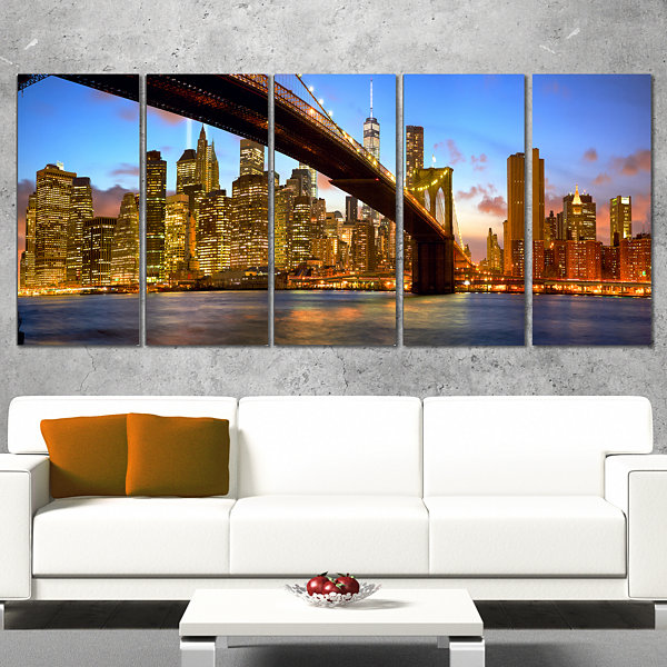 Designart Manhattan Panorama With Skyscrapers Cityscape Canvas Print - 4 Panels