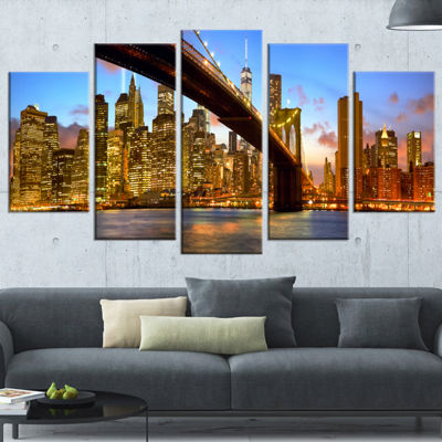 Designart Manhattan Panorama With Skyscrapers Cityscape Wrapped Canvas Print - 5 Panels