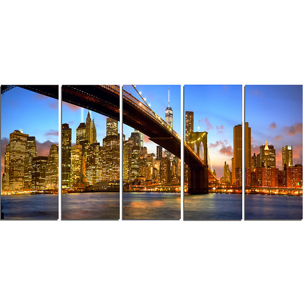 Designart Manhattan Panorama With Skyscrapers Cityscape Canvas Print - 5 Panels