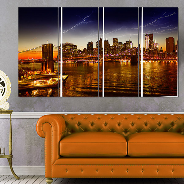 Designart Manhattan Sunset on East River CityscapePhoto Canvas Print - 4 Panels