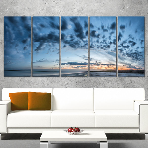 Designart Manych Rissua Lake Panorama Landscape Artwork Wrapped Canvas - 5 Panels