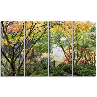 Designart Maple Tree Canopy By Bridge PhotographyCanvas ArtPrint - 4 Panels