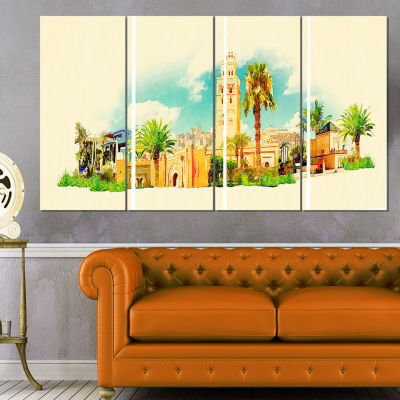 Designart Marakesh Panoramic View Cityscape Watercolor Canvas Print - 4 Panels