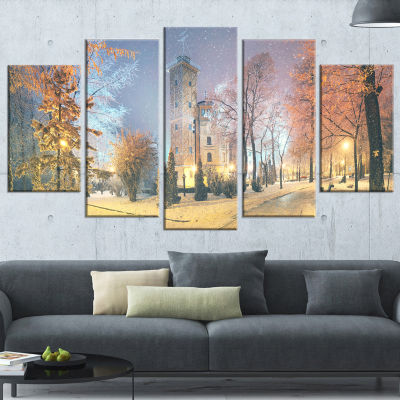 Designart Mariinsky Garden in Yellow Tone Landscape Photography Canvas Print - 4 Panels