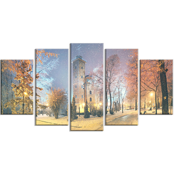 Designart Mariinsky Garden in Yellow Tone Landscape Photography Canvas Print - 5 Panels