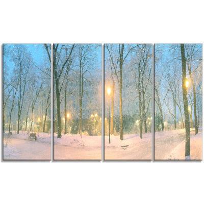Designart Mariinsky Garden With Lights Landscape PhotographyCanvas Print - 4 Panels