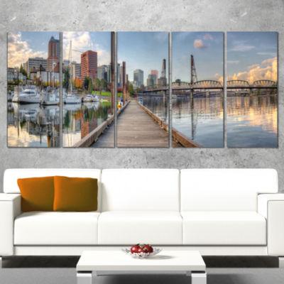 Designart Marina Along The River Landscape Photography Canvas Print - 4 Panels