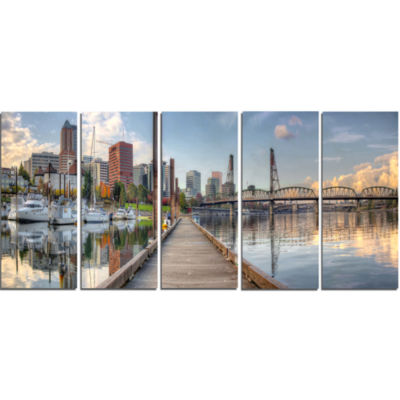 Marina Along The River Landscape Photography Canvas Print - 5 Panels