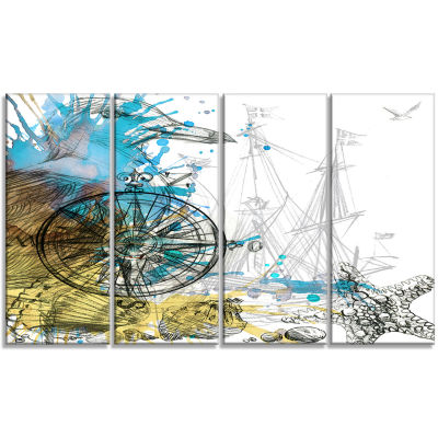 Designart Marine Background Illustration Art Animal Canvas Art Print - 4 Panels
