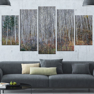 Designart Maroon Bells Mountain View Modern ForestWrapped Canvas Art - 5 Panels
