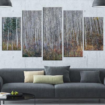 Designart Maroon Bells Mountain View Modern ForestCanvas Art - 5 Panels