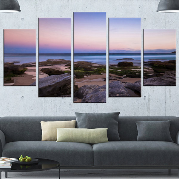 Designart Maroubra Beach At Sunset Panorama ModernSeashoreCanvas Art - 4 Panels