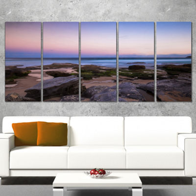 Designart Maroubra Beach At Sunset Panorama ModernSeashoreCanvas Art - 5 Panels