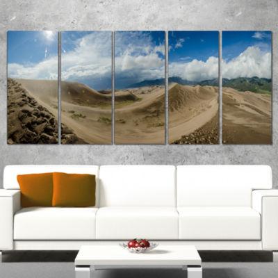 Designart Massive Sand Dunes Panorama Landscape Print Wall Artwork - 4 Panels