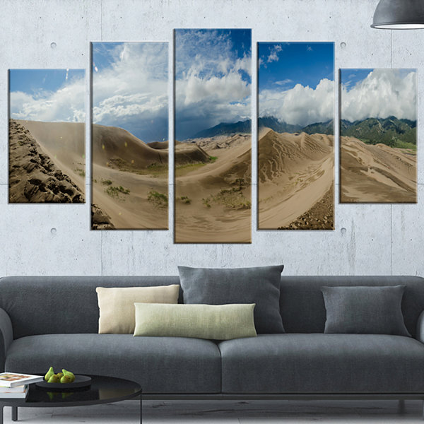 Designart Massive Sand Dunes Panorama Landscape Print Wall Wrapped Artwork - 5 Panels