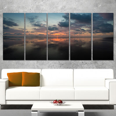 Designart Matapalo in Costa Rica Beach Sunset Extra Large Seascape Wrapped Art Canvas - 5 Panels