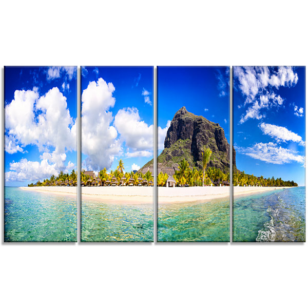 Designart Mauritius Beach Panorama Photography Canvas Art Print - 4 Panels