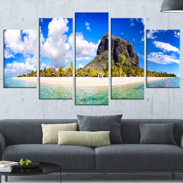 Designart Mauritius Beach Panorama Photography Wrapped Canvas Art Print - 5 Panels