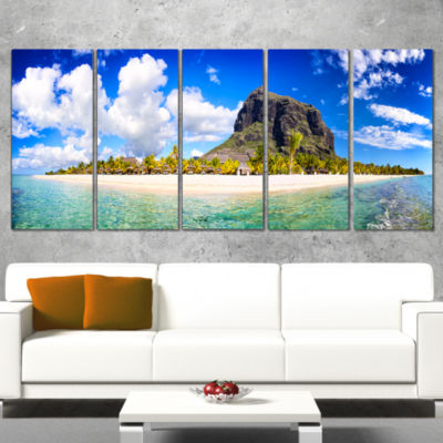 Designart Mauritius Beach Panorama Photography Canvas Art Print - 5 Panels