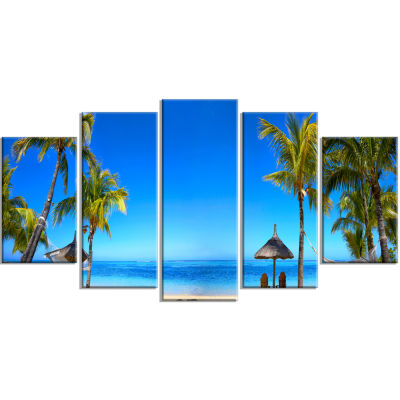 Mauritius Beach With Chairs Seashore Photo CanvasArt Print - 4 Panels