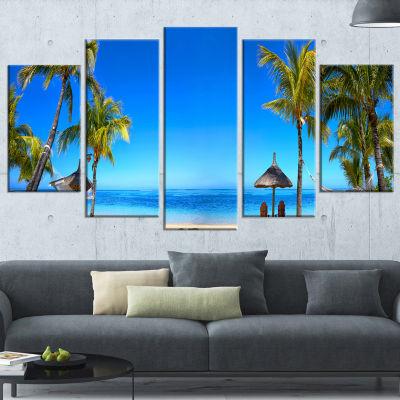 Mauritius Beach With Chairs Seashore Photo CanvasArt Print - 5 Panels