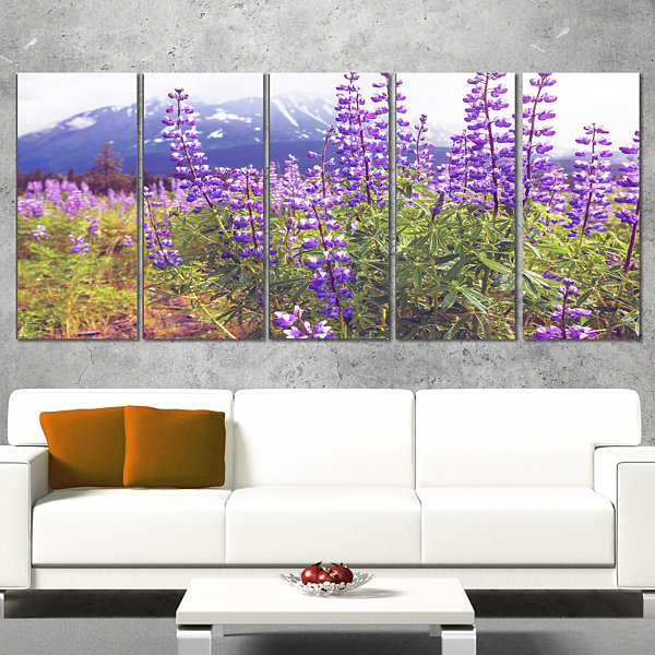 Designart Meadow in Alaska With Purple Flowers Floral CanvasArt Print - 4 Panels