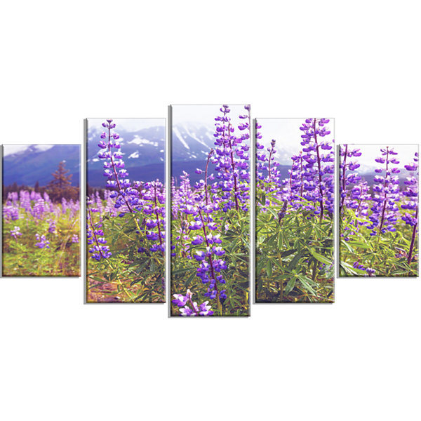 Meadow in Alaska With Purple Flowers Floral Wrapped Canvas Art Print - 5 Panels