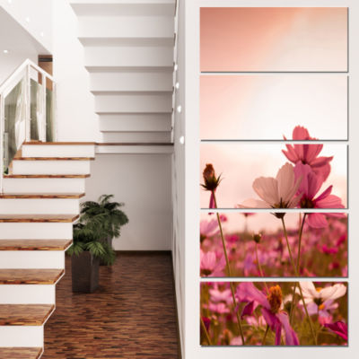 Meadow With Beautiful Cosmos Flowers Floral CanvasArt Print - 4 Panels