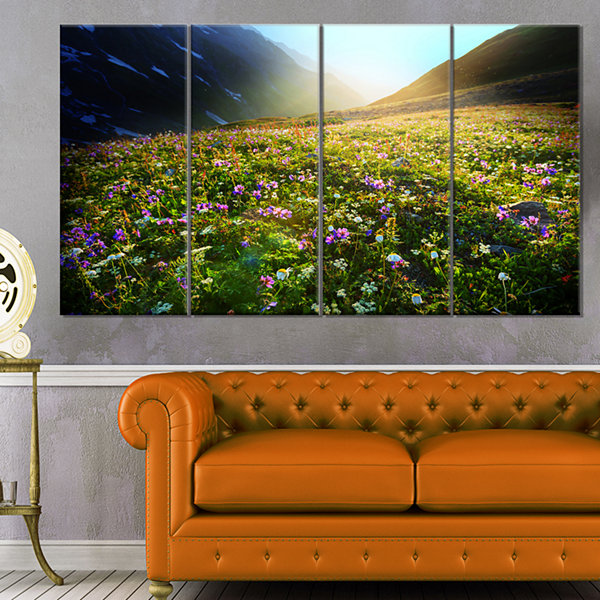 Designart Meadow With Colorful Flowers Oversized Landscape Canvas Art - 4 Panels