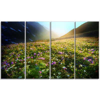 Meadow With Colorful Flowers Oversized Landscape Canvas Art - 4 Panels