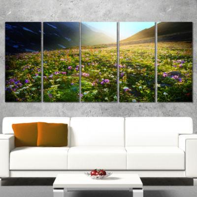 Designart Meadow With Colorful Flowers Oversized Landscape Canvas Art - 5 Panels