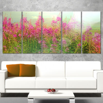 Designart Meadow With Little Purple Flowers FloralArt Wrapped Canvas Print - 5 Panels