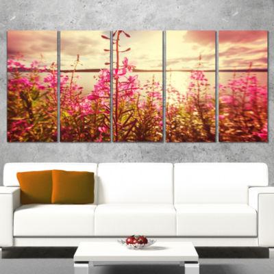 Designart Meadow With Purple Flowers Alaska FloralArt Wrapped Canvas Print - 5 Panels