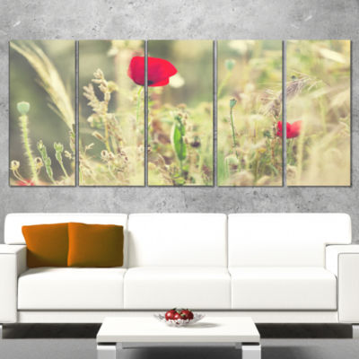 Meadow With Wild Poppy Flowers Large Flower CanvasArt Print - 4 Panels