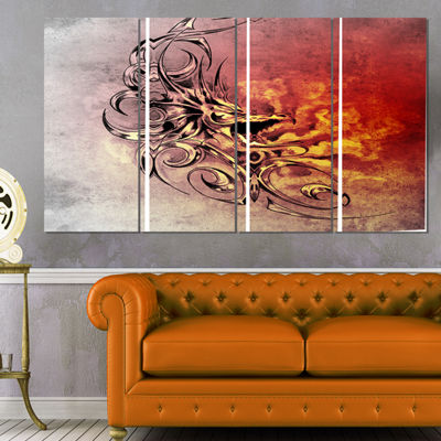Designart Medieval Dragon Tattoo Sketch Abstract Print on Canvas - 4 Panels