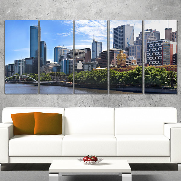 Designart Melbourne City Victoria Cityscape Photography Canvas Art Print - 5 Panels