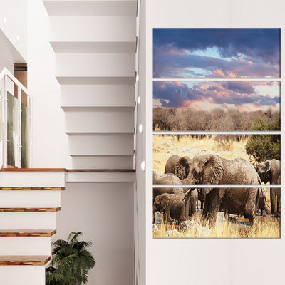 Designart Memory of Elephants in Bush Abstract Canvas Art Print - 4 Panels