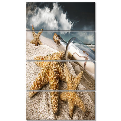 Message Bottle Buried in Sand Seascape Canvas ArtPrint - 4 Panels