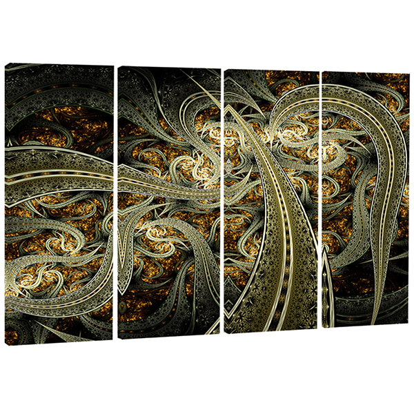 Designart Metallic Fabric Pattern Abstract Print on Canvas -4 Panels