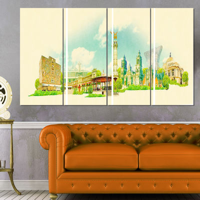 Mexico City Panoramic View Cityscape Watercolor Canvas Print - 4 Panels