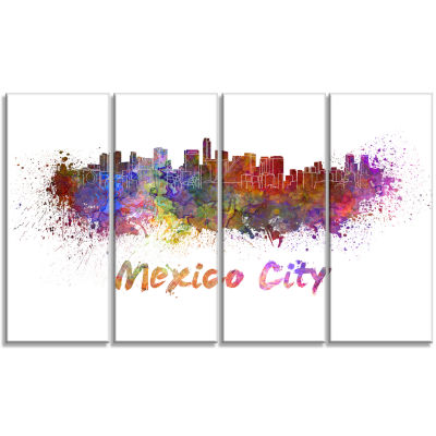 Mexico City Skyline Cityscape Canvas Print - 4 Panels