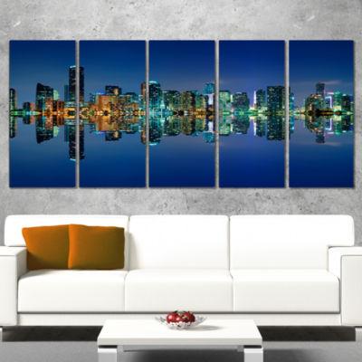 Designart Miami Skyline At Night With Reflection Cityscape Canvas Print - 4 Panels