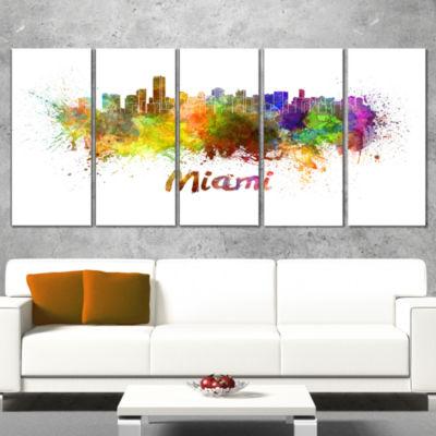 Designart Miami Skyline Cityscape Canvas Art Print- 4 Panels