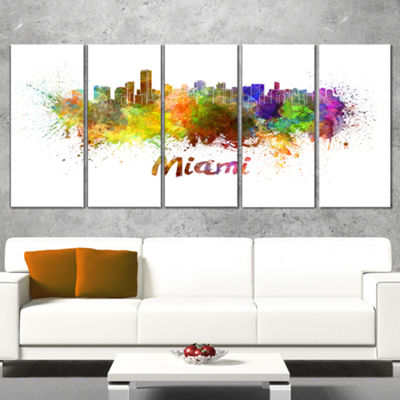 Designart Miami Skyline Cityscape Canvas Art Print- 5 Panels