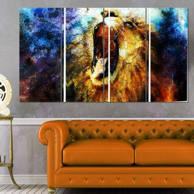 Designart Mighty Lion Emerging Animal Art Canvas Print - 4 Panels